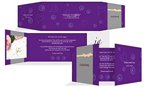 Hochzeitskarten: Einladungskarte Curly Hearts, hochwertige Einladung zur Heirat inklusive Umschläge | 15 Karten (format: 215.00x105.00mm) color: Pink