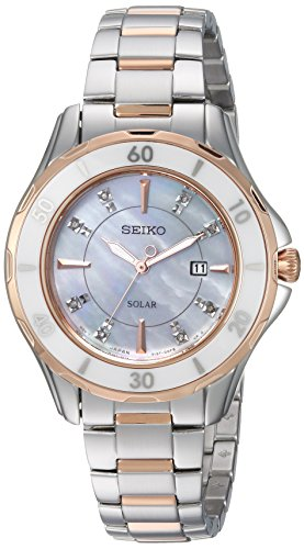 Seiko Women's Diamond Solar Japanese-Quartz Watch with Two-Tone-Stainless-Steel Strap, 15 (Model: SUT340)