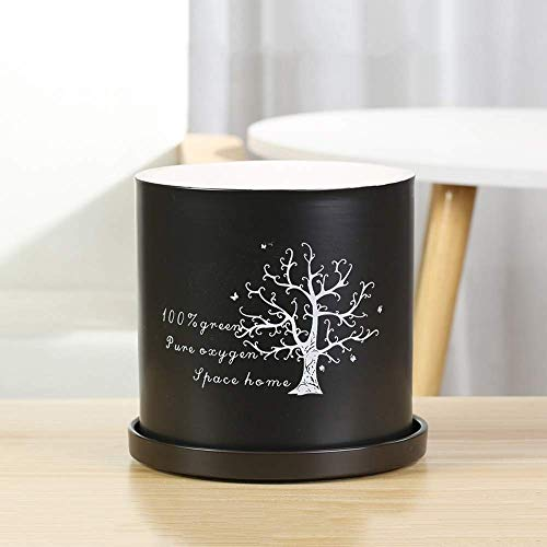 Lowest Price! Faturt European Flower Pot Ceramic Simple Style Creative with Tray Flower Pot Cylindri...