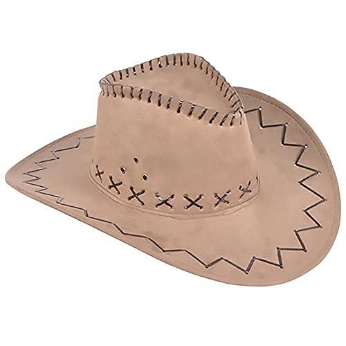 The Dreidel Company Microsuede Cowboy Hat, Western Cowboy Hat, Adult Medium (Light Brown)