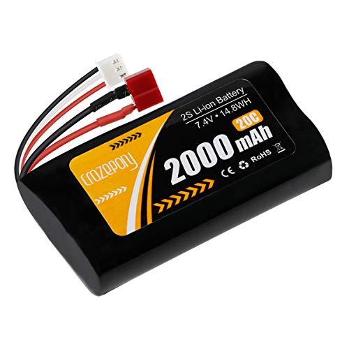 FancyWhoop 2S Li-Ionen-Akku 7,4 V 2000 mAh 20 C Akku T-Stecker mit USB-Ladekabel für Jumper T16 T12 T8SG Sender Fernbedienung RC Auto Offroad Truck Batterie