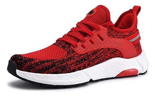 ZUSERIS Mixte Baskets Chaussures de Running sur Route Femme Homme Multisports Outdoor Marche Gym Fitness Sport Respirante Sneakers Rouge 38EU