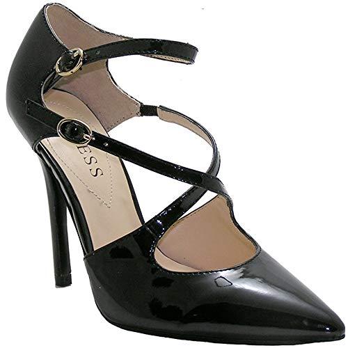 GUESS Zapatos de tacón alto de imitación de charol COMELY, Negro (Negro),...
