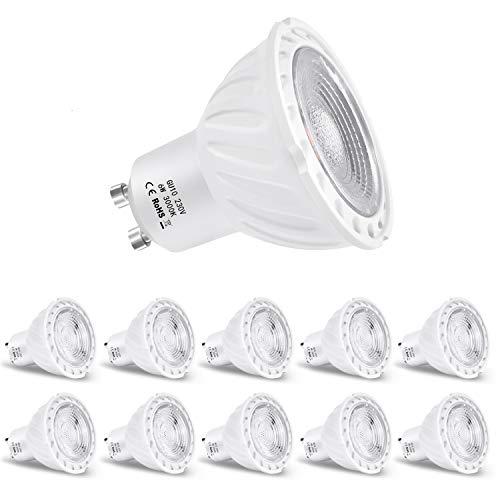 ZIKEY 6W GU10 Bombilla LED, Luz Blanca Cálida 3000K, Equivalente a 60W Lámparas Halógenas, 600lm, No regulable - Paquete de 10
