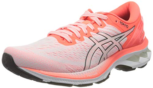 Asics Gel-Kayano 27 Tokyo, Road Running Shoe Mujer, White/Sunrise Red, 40 EU