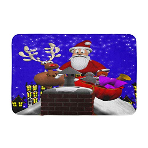 AoLismini Bath Mat Computer Generated 3D Cartoon Depicting Santa Claus on a Rooftop with Reindeer and Cozy Bathroom Decor Bath Rug with Non Slip Backing