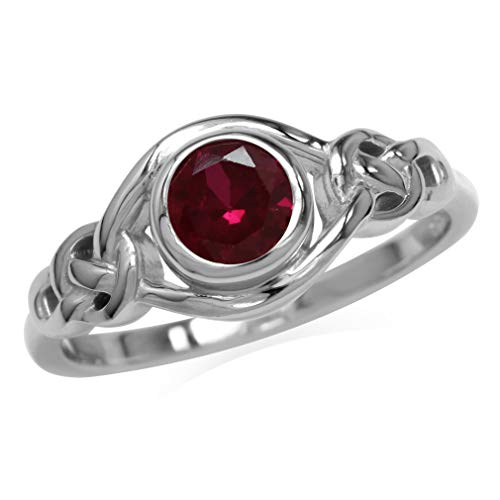 Silvershake Created Red Ruby White Gold Plated 925 Sterling Silver Celtic Knot Ring Size 11