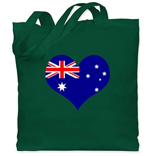 Shirtracer Länder - Herz Australien - Unisize - Dunkelgrün - Ozeanien - WM101 - Stoffbeutel aus Baumwolle Jutebeutel lange Henkel