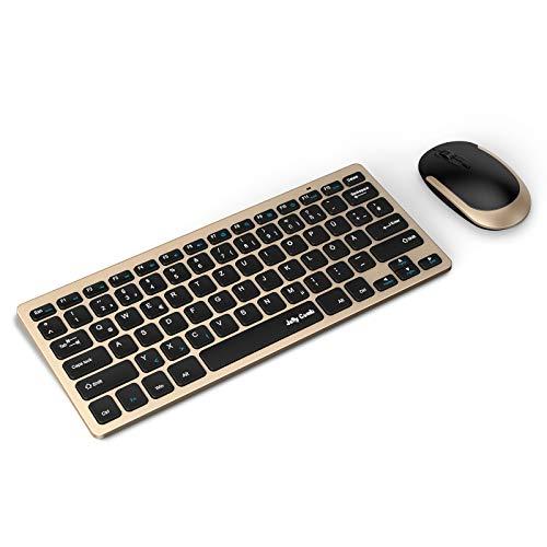 Jelly Comb Funkmaus und Tastatur Set, 2.4G Kabellose Ultraslim Mini Tastatur und Maus Combo, QWERTZ Deutsches Layout für MacBook, PC, Laptop, Smart TV, Schwarz und Gold