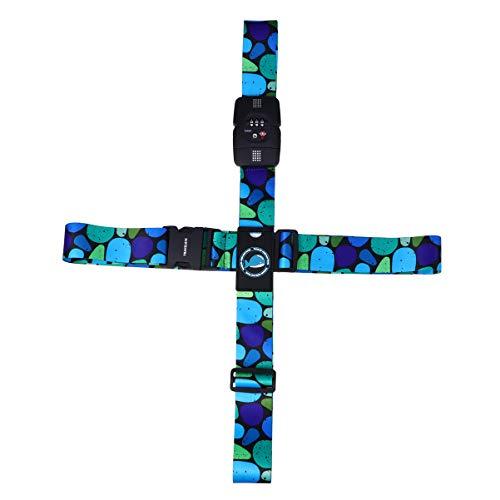 Lurrose Verstellbare Kreuzgepäck-Gurte für Koffer, Sicherheitsgurt aus Polyester mit Schloss für Reisen (geometrisches Labyrinth)