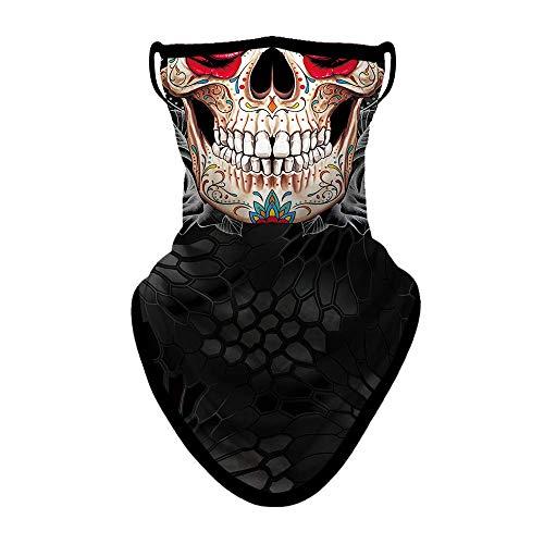 Joeyoung, Bandana-Gesichtsmaske- Schal, Gesichtsmaske, Halswärmer, Staubschutz-Halstuch, waschbar, windabweisend, Motorradmaske mit Ohrschlaufen für Damen und Herren, 3D-Schädel 1