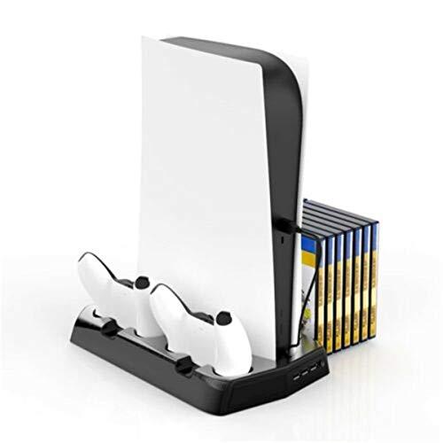 Soporte vertical de disipación de calor con ventilador de refrigeración para estación de carga PS5 con controladores duales y estante de disco de, el soporte todo en uno para su PS4 / PS4 Slim