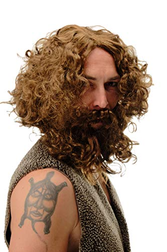 WIG ME UP- 6098A+B-P6 Peluca y Barba Halloween Carnaval neandertales Hombre primitivo Salvaje Hipster reclusa marrón Claro