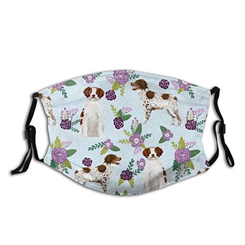 Reebos Ma-sk Unisex Tuch Gesicht Bretagne Spaniel Quilt C Hund Koordinate Floral Face Co-ver mit verstellbaren Ohrschlaufen, waschbare Mundbedeckung für Outdoor, Sport, Shopping