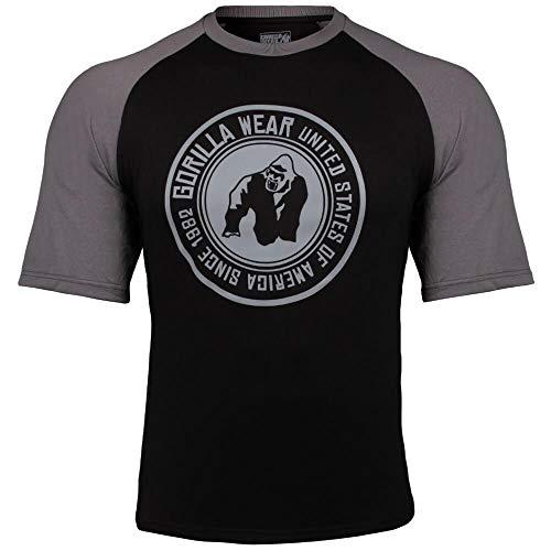 GORILLA WEAR Texas T-Shirt - schwarz/dunkelgrau - Bodybuilding und Fitness Bekleidung Herren, XL