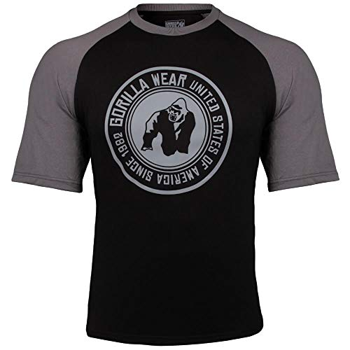 GORILLA WEAR Herren Shirt - Texas T-Shirt - Top Kleidung Rag Oldschool Muscle Black/Dark Grey XL