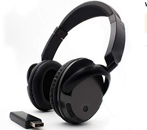 Auriculares Inalámbricos Profesionales para TV Pc Computadora Mp3 Auriculares Casco De Música Soporte Función FM con Transmisor USB Bluetooth Bluetooth Negro