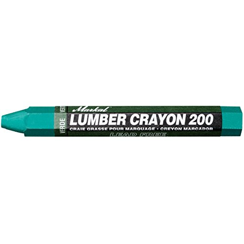 Markal 200 Lumber Crayon Economical Wax Based Marker, 1/2' Hex, 4-5/8' Length, Green (Pack of 12)