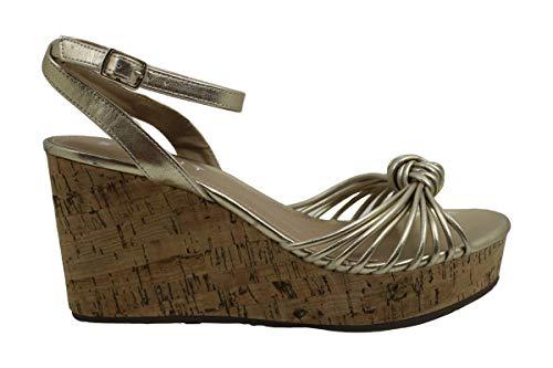 ESPRIT Frauen Offener Zeh leger Leder Sandalen mit Keilabsatz Gold Groesse 7.5 US /38.5 EU