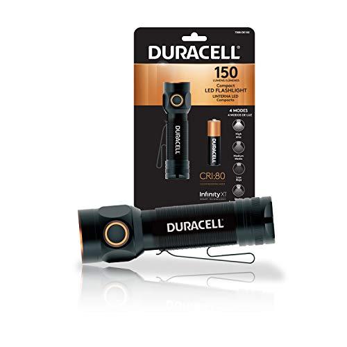 Duracell - Linterna LED compacta de 150 lúmenes para uso diario, diseño fiable, duradero y portátil con 4 modos y 1 pila AA incluida. Ideal para uso interior y exterior