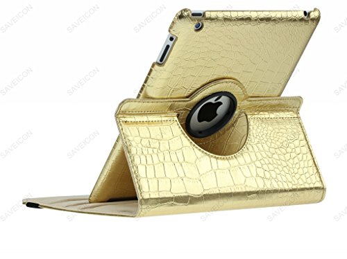 SAVEICON (TM) 360 Degrees Rotating Crocodile Skin PU Leather Case Smart Cover with Stand and Sleep/Wake Function for Apple iPad 4 with Retina Display, iPad 3, iPad 2 (Gold) Photo #3