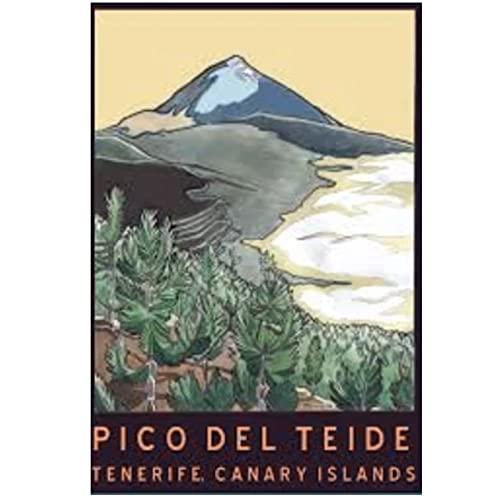 Tenerife Islas Canarias tour escénico póster Vintage lienzo arte de pared decoración del hogar 20x28 pulgadas x1 Sin marco