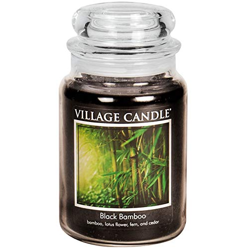 Village Candle Black Bamboo 26 oz Glass Jar Scented Candle, Large