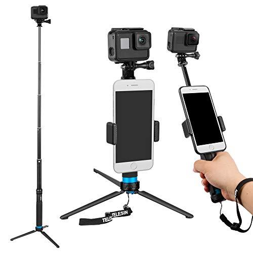 Telesin - Palo de selfie extensible de aleación de aluminio '6 en 1' con trípode de 3 vías y soporte de trípode y clip de teléfono para Apple, smartphones Android y cámara GoPro