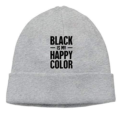 LJKHas232 Men Women Black Is My Happy Color 3-1 Soft Skull Cap