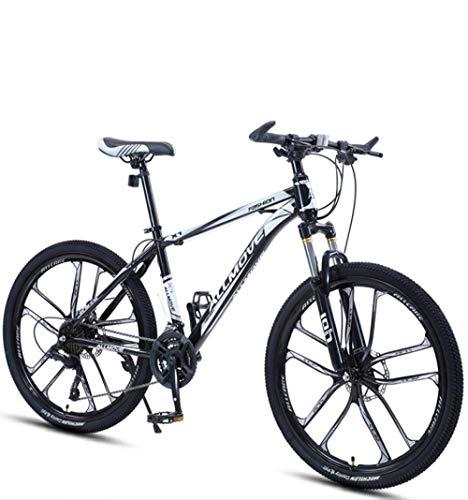 DGAGD Bicicleta de montaña de 26 Pulgadas para Hombre y Mujer, Velocidad Variable para Adultos, Bicicleta Ultraligera, Rueda de Diez Cuchillos-En Blanco y Negro_21 velocidades
