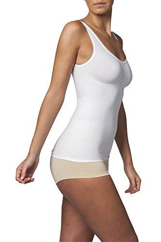 SLEEX Shapewear Figurformendes Damen Unterhemd (mit Support) (44041), Weiss, Groesse S/M - Shapewear Damen Bauch-Weg