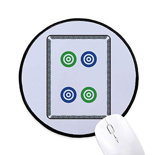 Mahjong Cirkel Dots 4 Tegel Patroon Ronde Antislip Mousepads Zwart gestikte randen Game Office Gift