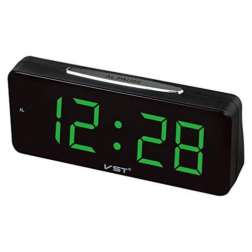 shanghui Pantalla Reloj electrónico de Escritorio Big Numbers Digital LED Reloj Despertador Relojes de Mesa con Corriente alterna Nixie Clock-Green