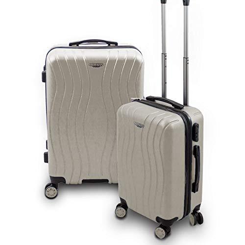 BERWIN® Kofferset M + L 2-teilig Reisekoffer Trolley Hartschalenkoffer ABS Teleskopgriff Modell Angelina (Champagne)