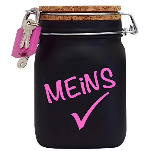 Spardose Meins Sparen Geburtstag Geld-Geschenk-Idee in Schwarzem Glas L