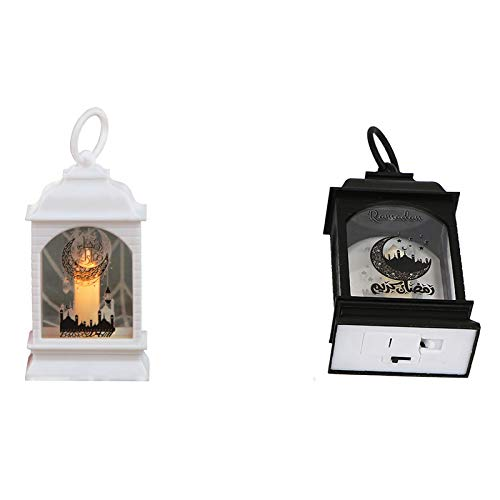 QSDGFH 2 faroles decorativos, linterna Ramadán funciona con pilas, linternas colgantes con anillo colgante, lámpara de vela sin llama para decorar para sala de estar o mesa
