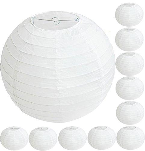 10x Demarkt–Papel blanco–Farolillo boda fijo Decoración Papel–Esfera Pantalla para lámpara decoración forma de bola