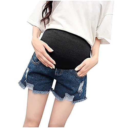 Pantalones cortos para mujer embarazada, con bolsillo y borlas, pantalones cortos para mujeres embarazadas, cintura elástica, para soporte abdominal, azul oscuro, L