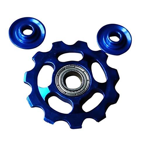 Roue Jockey en alliage d'aluminium 11T roue de tension de vélo dérailleur arrière poulie de guidage poulie vélo accessoires de vélo-bleu