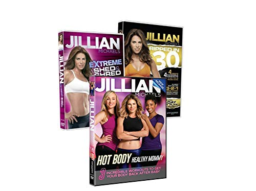 Jillian Michaels Fitness DVD's 3 Pack Hot Body Healthy Mommy, Ripped in 30 Days, Extreme Shed & Shred