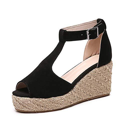 Verano Sandalias Romanas Mujer, Zapato Peep-Toe con Plataforma Cuña Alpargatas Zapatillas Sandalias...