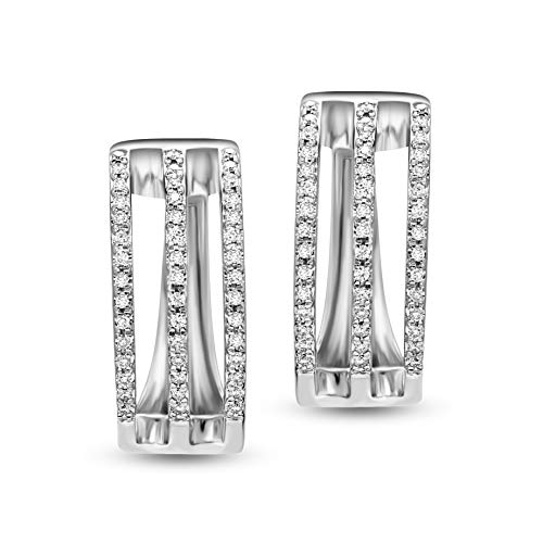 Valentines Day Gifts Lab Grown Diamond Earrings 1/4 Carat Huggie Hoop Earring Diamond Stud Earrings For Women 10K White Gold GH-SI Quality Diamond Earrings Gifts for Her