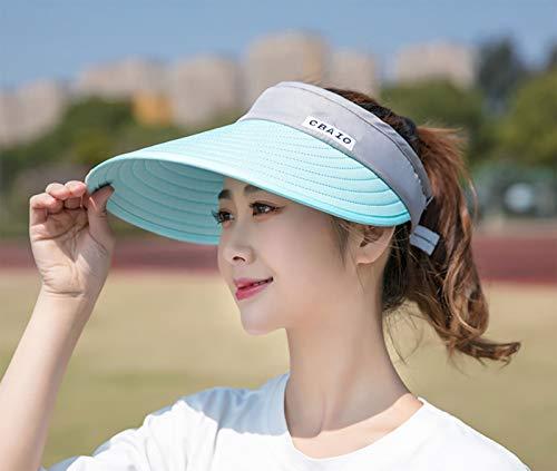 Sombrero para el sol de ala ancha para mujer de verano, ajustable y plegable, que cubre la cara y la protección solar, no se voltea al andar en bicicleta, sombrero de playa con la parte superior...