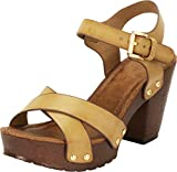 Cambridge Select Women's Retro 70s Studded Clog Crisscross Strappy Chunky Platform Block Heel Sandal,8.5 B(M) US,Beige PU