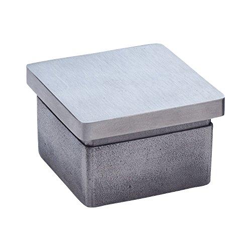 CROSO Endkappe eckig für Vierkantrohr 40x40 mm | Edelstahl V2A geschliffen | 1 Stück
