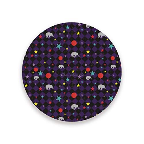LUPINZ Flying Ballon Elephant Pattern Cup Mat Isolierte Flexible Durable Anti-Rutsch Untersetzer feuchtigkeitsabsorbierend Untersetzer mit Kork Boden, Holz, 1, 1 piece set