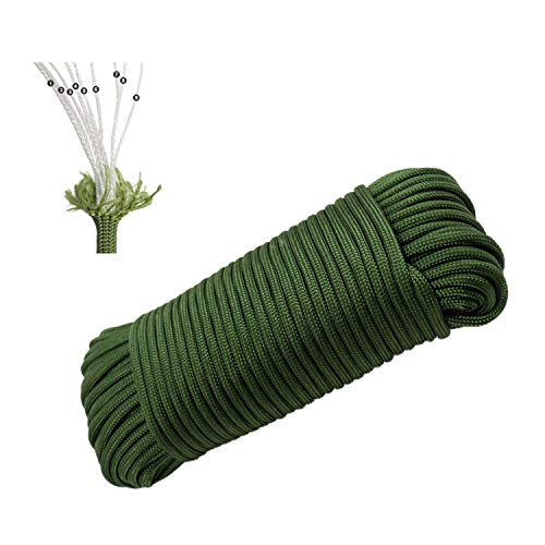 Paracord 550 | 100 Feet 9-Strand Core Nylon Rope Parachute Cord Tent Rope Survival Gear for Outdoor Camping Hiking Hunting(Green)