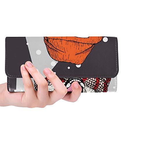 Retrato Personalizado único Perro Husky Siberiano con Mujer Cartera Triple Monedero Largo Portatarjetas de crédito Estuche Bolso