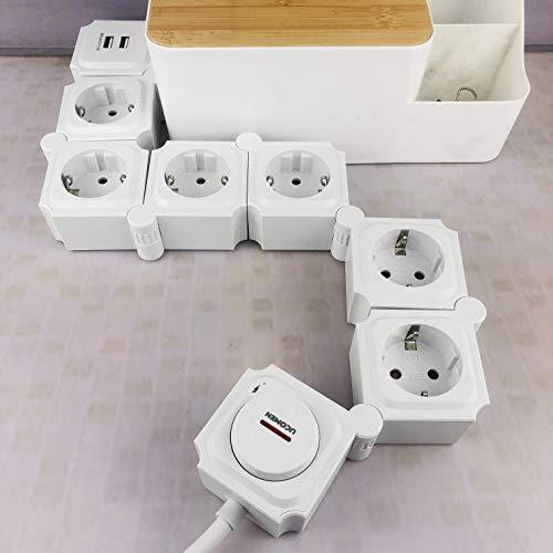 UCOMEN Power Strip, 6 Fach Steckdosenleiste, Steckdose mit 2 USB, Tischsteckdose mit Schalter, Mehrfachsteckdose mit überspannschutz, 3680W, Verformbar Würfel, Weiß
