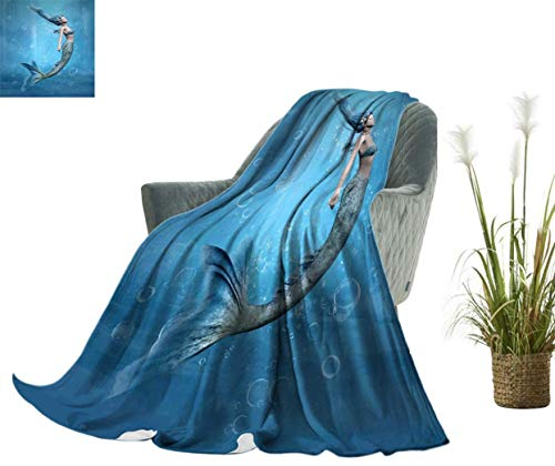 Coloufules Mermaid Decor Knitted Pattern Blanket Mermaid Fishtail Floating Bubbles Mythical Creature Fairy Ocean Life Art Blanket 60 x 36